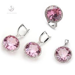 $enCountryForm.capitalKeyWord Canada - The new product MN145set sz#6 7 8 9 10 Pink Cubic Zirconia Wholesale Copper Rhodium Plated Punk Bohemia heart set (ring earring pendant)