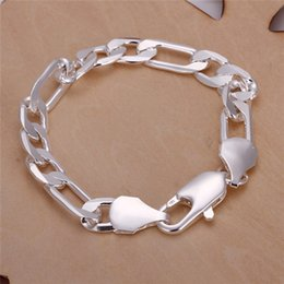 Sterling Silver Figaro Bracelet NZ - Fashion Jewelry 925 sterling silver men Figaro chain bracelet 10MMX20CM Top quality free shipping Cool design