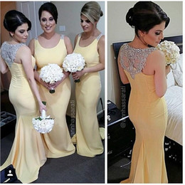 Wholesale 2019 Light Yellow Mermaid Bridesmaid Dresses For Wedding Scoop Neckline Crystal Beaded Floor Length Bridal Formal Gowns Plus Size