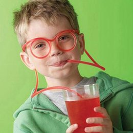 green plastic straws UK - DIY Creative Funny Glasses Straw Children's Cartoon Cute Fun Wacky Straw Toys Household I Items Drinkware Toy