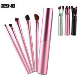 Round plastic haiR bRushes online shopping - 100sets Wholesales Synthetic Hair Eyeshadow Brushes Set Kits Makeup Brushes Eye Makeup Tool Kit Round Tube Beauty Tool