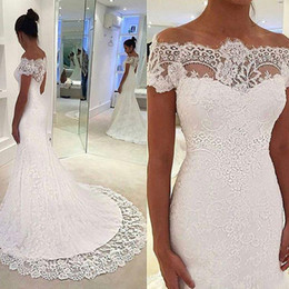$enCountryForm.capitalKeyWord Australia - Full Lace Off Shoulder Wedding Dresses Sexy Vintage Boho Sheer Short Sleeves Buttons Back Bridal Gown vestido de noiva robe de mariée