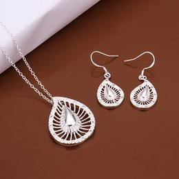Lovers Branded Earring Canada - High grade 925 sterling silver Set hollow leaves jewelry sets DFMSS473 brand new Factory direct sale wedding 925 silver necklace earring