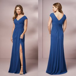Barato Bolero Vestidos Mãe Noiva-New Sexy Split Mother of the Bride Vestidos baratos Long Neck Neck Blue Moms Vestidos Plus Size Mermaid Woman Evening Dresses Bolero
