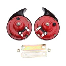 Discount electric jaguar Hot 2*12V Waterproof Snail Horn Loud Car Auto Electric Bass Vehicle Sound Level 110db Whistle Horn 12V TYPER Multi-tone
