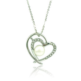$enCountryForm.capitalKeyWord Canada - Fashion Double Heart Pendant Necklace White Rhinestone Silver Plated Necklace For Girlfriend Romantic Valentines Day Gift Jewelry
