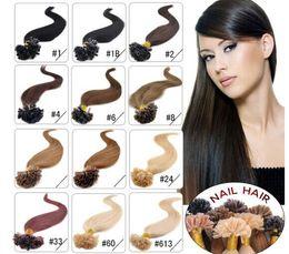 "ELIBESS 14"" - 24"" 0.8g s 160g lot 200s lot keratin nail u Tip Hair Pre Hair Extensions 1# 1B# 2# 4# 6# 27# 99J# 27# 613#dhl free shpping on Sale"