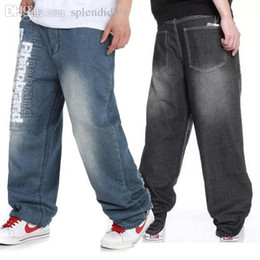 $enCountryForm.capitalKeyWord Canada - Wholesale-Summer Autumn Oversized Letter Printed Hip Hop Jeans For Men,Black Light Blue Baggy Rock Denim Pants Streetwear,Plus Size 32-46