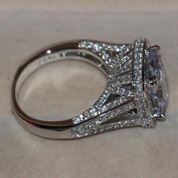 Vente en gros Taille 5-11 bijoux de luxe 8CT grosse pierre saphir blanc 14 kt or blanc rempli GF simulé diamant mariage bague de fiançailles anneau amoureux cadeau