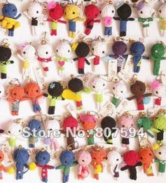 voodoo pendant NZ - Wholesale-20ps lot New Cute Mixed Color Woolen Voodoo Dolls Toy Doll with Strap Chain Fit Mobile Phone Pendant&Bag&Key Chain JC5