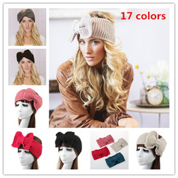Wholesale Womens Crochet Winter Autumn Knit Big Butterfly Headbands Adult Lady Knit headwrap winter hair fashion accessories Stretch Hair Bands WHA03