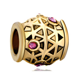 pandora birthstone NZ - Fashion women jewelry European gold plated ruby birthstone crystal metal bead loose charms fits Pandora charm bracelet