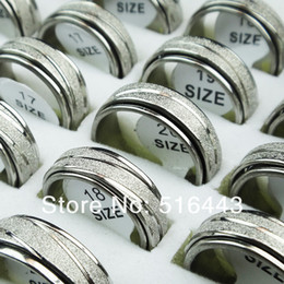 $enCountryForm.capitalKeyWord Canada - Upscale 30pcs Frosted Stainless steel Double Layer Spin Rotate Mens Womens Silver Rings Wholesale Lots A-309