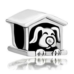 Dog Plates Canada - Alloy Material in rhodium plating dog cote Bead Black Enamel Charm Fit Pandora European DIY Bracelet