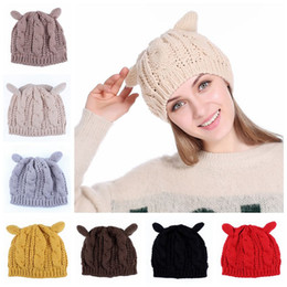 51ba7a86c1d62 Women Winter Beanie Devil Horns Cat Ear Crochet Braided Knit Ski Cap Hat 9  Colors 100pcs LJJO3476