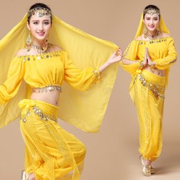 Barato Dança Vestidos Para Mulheres-Womens New Belly Dance Ethnic New Style Of Dance Vestuário Vestuário Vestuário Set Indian Dancing Dress Clothes Top Pants Colorido Performance