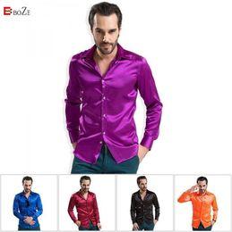 Mens Plus Size Silk Shirts Canada - Wholesale-Famous Brand Men Shirts 2015 High grade Silk Mens Long Sleeved Male Fashion Casual Silky Plus XXXXL Size Men Shirt