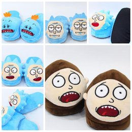 Barato Sapatos Quentes E Macios-Rick e Morty Soft Plush Stuffed Slipper Winter Home Quentes Sapatos Mr. Meeseeks Plush Indoor Slippers Shoes Soft Stuffed KKA3223