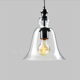Pendant Light Fixture Wholesale Canada - Edison Modern crystal bell glass pendant Lamps Dining room Indoor Contemporary chandelier lighting fixtures E27 110-240V bl-010-1