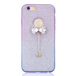 DiamonD apple penDant online shopping - Diamond Bow Bling Glitter Sparkle Soft TPU Case For iPhone X I7 I8 S Plus S SE Fashion Dual Color Pendant Shiny Phone Cover