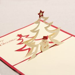 Sale Christmas Cards Canada - 100mm*150mm High quality Handmade Christmas snowman Greetings Cards Kirigami 3D Pop up Card Hot Sale Free Shipping