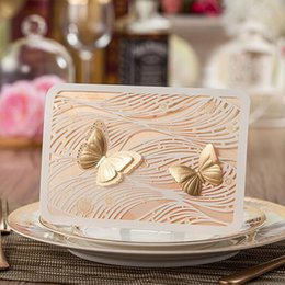Christmas Cards Invitations Canada - Wedding Invitation Butterfly Baby Shower Gold Laser Cut Christmas Paper Event Party Decoration Flower Romantic Inviting Card