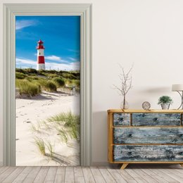 Free shipping 3D seaside lighthouse Door Wall Stickers DIY Mural Bedroom Home Decor Poster PVC Waterproof Door Sticker 77x200cm & Lighthouse Wall Decor Online | Lighthouse Wall Decor for Sale Pezcame.Com