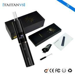 Elements Battery NZ - 100% original Taitanvs T3 dry herb vaporizer vape pen starter kit 1200mAh battery Glass Heating Element with Hidden OLED Display screen