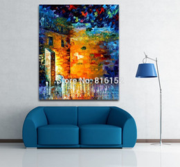 $enCountryForm.capitalKeyWord Canada - Palette Knife Oil Painting Night Scene Old Castle Architectures Cityscape Canvas Prints Mural Art for Living Room Bedroom Decor