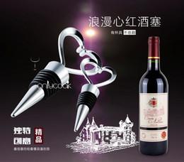 100pcs / lot Nuovo squisito cuore a forma di tappo vino di alta qualità in lega di zinco + strumenti di vino bar silicone