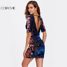 Barato Vestido De Curativo Com Pescoço-COLROVIE Tied V Back Sequin Bandage Dress 2017 Scoop Neck Half Sleeve Sexy Bodycon Dress With Bow Ladies Sexy Vestido de Natal q1113