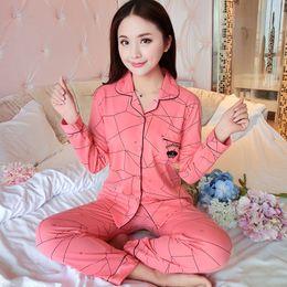 0d99a8258a Wholesale- 2017 New Women Pajamas Set 100% Cotton Pajamas Pijamas Spring  And Autumn Girl Long Sleeve Sleepwear Night Suits Plus M-XXXL