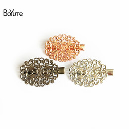 filigree hair clips 2019 - BoYuTe 20Pcs Filigree Metal Flower Butterfly Hair Clip 6 Colors Plated Wholesale Vintage Hair Jewelry Hairpin discount f