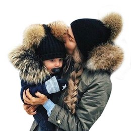 Knit Beanies For Baby Boys Canada - Wholesale- Mother And Kids 2017 Winter Caps Fur Pom Poms Hats For Women Faux Fur Beanies Wool Knitted Pompom Hat Baby Boys Girls Skullies