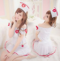 Wholesale in Sexy Costumes Nurse lingerie cosplay Dress with hair band bracelet and G string Combo Uniform drop shipping