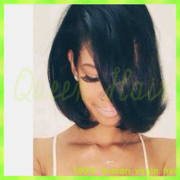 black wig straight bangs NZ - New Silk Straight Bob Full Lace Wig Glueless Virgin Human Hair Short Bob Wigs With Full Bangs Brazilian Bob Wigs For Black Women