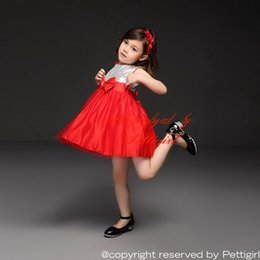 LoLita fLared dress online shopping - Pettigirl Girls Party Dresses Silver Sequins Top Bow And Red Hem Wedding Dresses Girls Christmas Dresses Kids Clothes GD40814