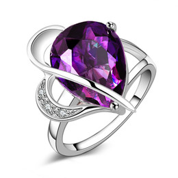 925 silver austria crystal 2018 - Free Shipping New 925 Sterling Silver fashion jewelry Austria high-grade Purple Crystal ring hot sell girl gift 1504 che