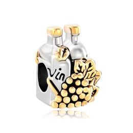 $enCountryForm.capitalKeyWord UK - Fashion women jewelry European style crystal grape wine vine bottle metal spacer bead lucky charms fits Pandora charm bracelet