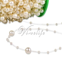 $enCountryForm.capitalKeyWord NZ - Wholesale-5 Meters Fishing Line Artificial ABS Pearl Beads Chain Garland Wedding Party Decor Cloth Hair Accessories Ivory Pink White