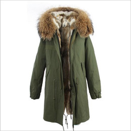 brown parka women UK - ladies snow coats Jazzevar brand brown Raccoon fur collar grey white rabbit fur liner army green canvas long parka