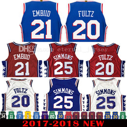 2017-18 New 20 Markelle Fultz 21 Joel Embiid Jersey 2018 Men s 25 Ben  Simmons Jerseys Red Adult Embroidery and 100% Stitched ... b61f007fe