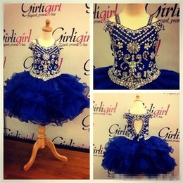 Barato Imagens De Vestidos De Flores Com Contas-Royal Blue Short Rachel Allan Little Girls Vestido de retrato Imagem real com correias Cristais Beaded Tiers Organza Mini Flower Girl Gowns