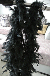 Black Boa Feathers Canada - Free shipping 20pcs 200cm pcs black Feather Boas 40gram Chandelle Feather Boas Marabou Feather Boa for costumes decor party event supplies