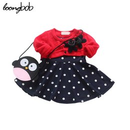 Barato Vestido Grossista De Polca Tutu-Atacado - Fake 2 Pcs Infant Girls Clothes manga comprida Floral Dress Splicing Polka Dot Princess Tutu Vestidos One Piece Costumes recém-nascidos