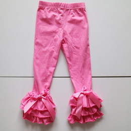 Barato Calças De Ganga-Hot pink Custom Made Triple Ruffled Leggings Toddler Meninas Icing Tights Atacado Kids Tights Pants Pronto para enviar