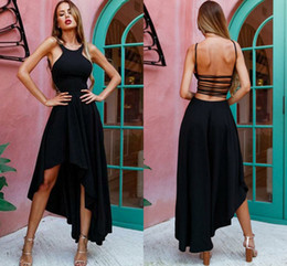 Cheap prom dress fast online shopping - Fashion Black High Low Prom Dresses Spaghetti Straps Satin Backless Sexy Evening Dresses Cheap Party Dress Fast Shipping