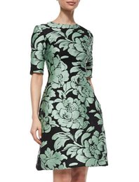 Dress Sleevs Canada - Vintage Flower Print Women A-Line Dress Elegant Short Sleevs Party Dresses 15071530E