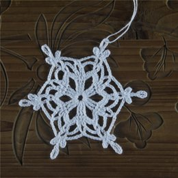 white christmas decor NZ - new Christmas snowflakes applique home decor White crochet snowflakes embellishments - holiday ornaments - Christmas decorations - set of 20