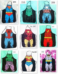 $enCountryForm.capitalKeyWord Canada - 50pcs HOT sale Sexy Men Women Apron superhero Apron spiderman avengers Batman Kitchen Cooking Chef Novelty Funny Naked BBQ Party D477